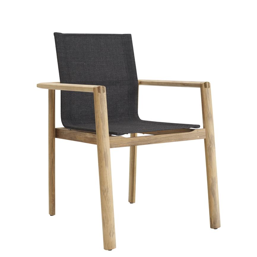 gartenstuhl solpuri safari stapelsessel teakholz textilene gartenm bel fachhandel. Black Bedroom Furniture Sets. Home Design Ideas
