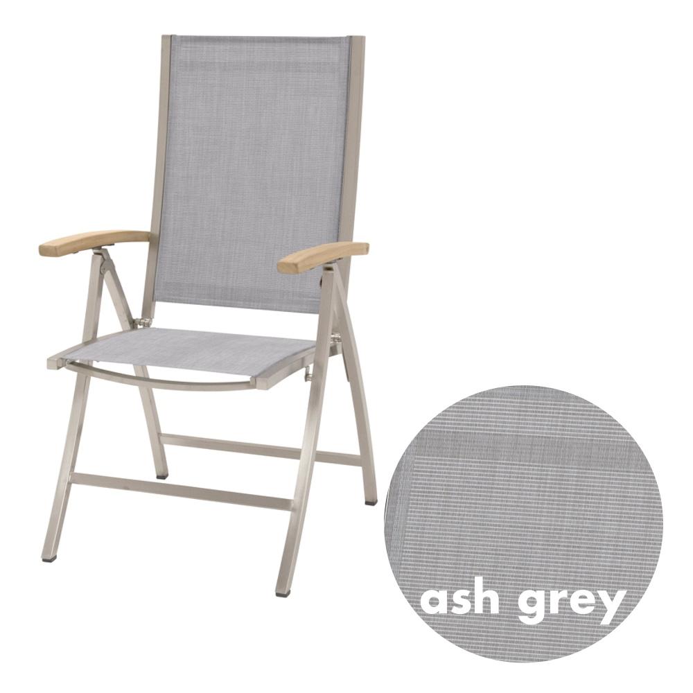 Gartenstuhl 4SEASONS «Nexxt Hochlehner Ash Grey, Klappsessel, Teak Armlehnen