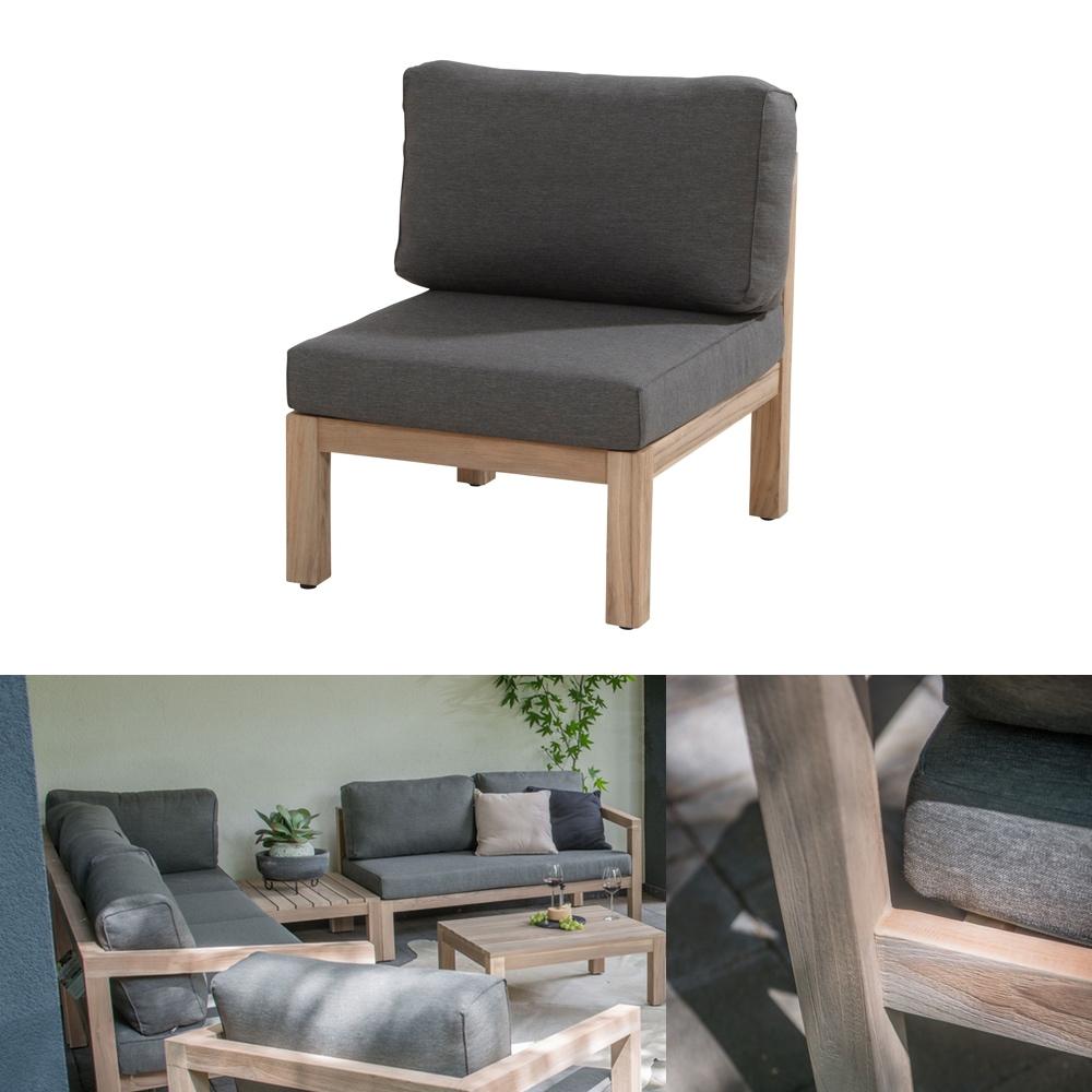 gartenstuhl 4seasons evora loungemodul mittelelement teakholz inkl kissen gartenm bel. Black Bedroom Furniture Sets. Home Design Ideas