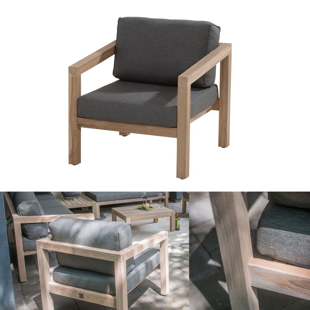 gartenstuhl 4seasons evora loungesessel teakholz inkl kissen gartenm bel fachhandel. Black Bedroom Furniture Sets. Home Design Ideas