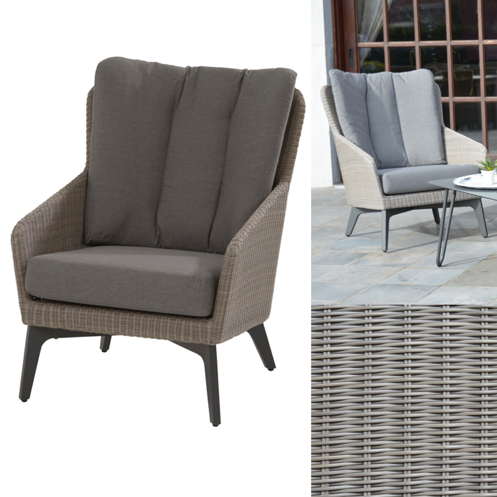 Loungesessel weiss outdoor  Gartenstuhl 4Seasons «Luxor polyloom pepple» Loungesessel Polyrattan ...