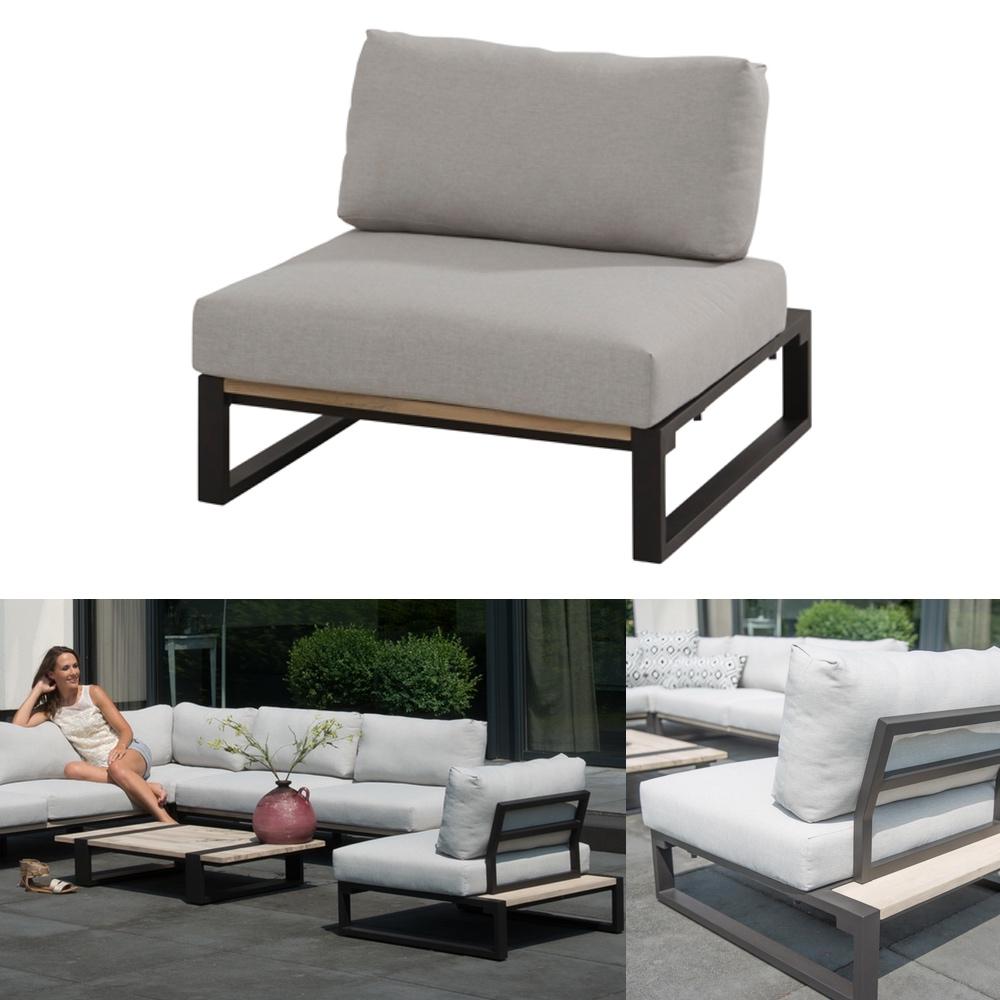 gartenstuhl 4seasons duke lounge mittelelement aluminiumgestell teak kissen gartenm bel. Black Bedroom Furniture Sets. Home Design Ideas