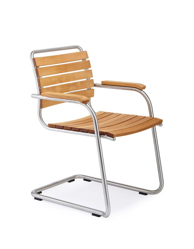 gartenstuhl fischer swing freischwinger teakholz edelstahl gartenm bel fachhandel. Black Bedroom Furniture Sets. Home Design Ideas