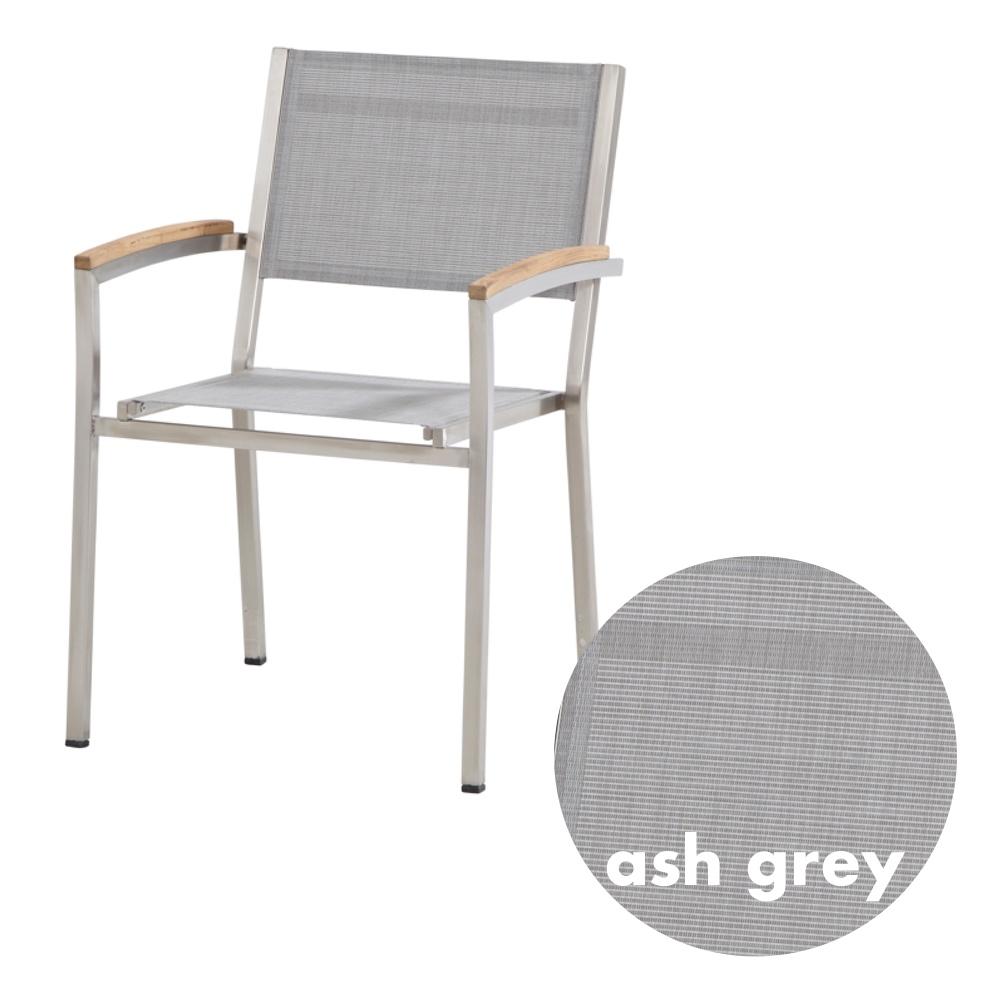 Schon Gartenstuhl 4SEASONS «Nexxt Stapelsessel Ash Grey» Edelstahl, Textilene