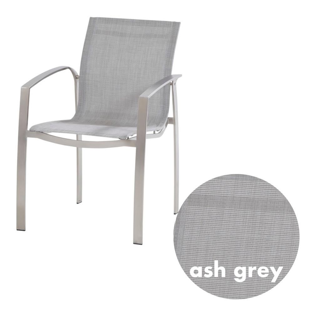 gartenstuhl 4seasons summit stapelsessel ash grey edelstahl textilene gartenm bel fachhandel. Black Bedroom Furniture Sets. Home Design Ideas