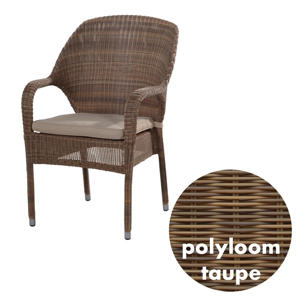 Gartenstuhl 4Seasons «Sussex Polyloom Taupe» Stapelsessel Rattan mit ...