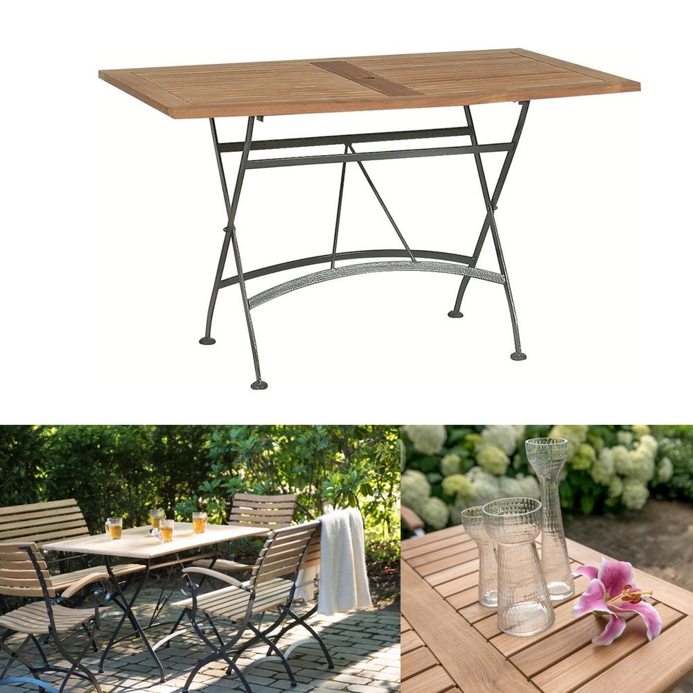 Gartenmoebel Aus Teak Und Eisen: Gartentisch 4SEASONS «Darwin 120x70cm» Biergartentisch