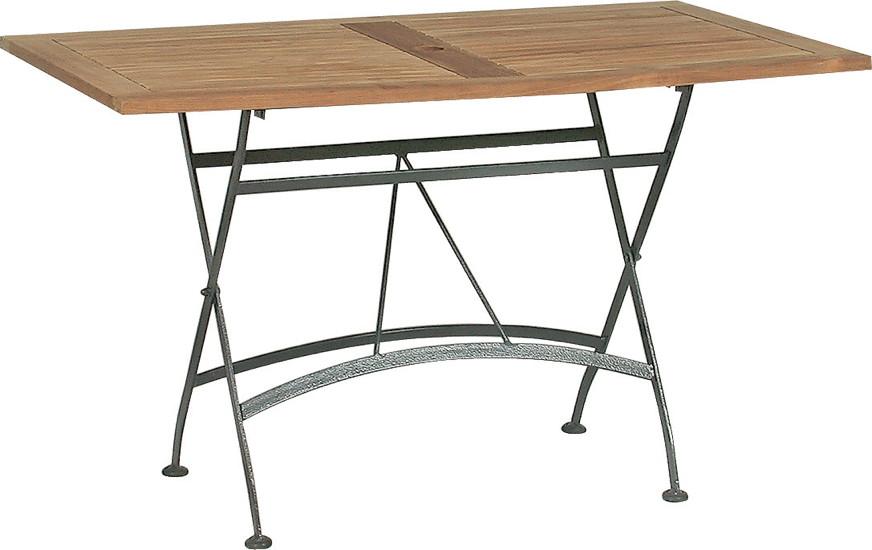 Gartentisch 4seasons lindau 120x70cm biergartentisch klapptisch eisen teak - Table de salon pliable ...