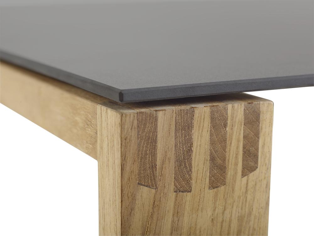 Esstisch Toptip ~ Gartentisch SOLPURI «SAFARI Holztisch» Teakholz, Keramiktischplatte cement an