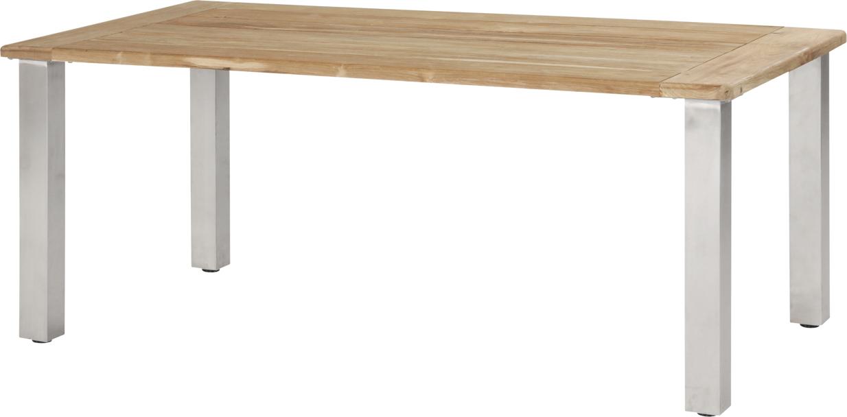 Holz Gartentisch 4seasons Casa 180x90 Edelstahlbeine Esstisch Teak