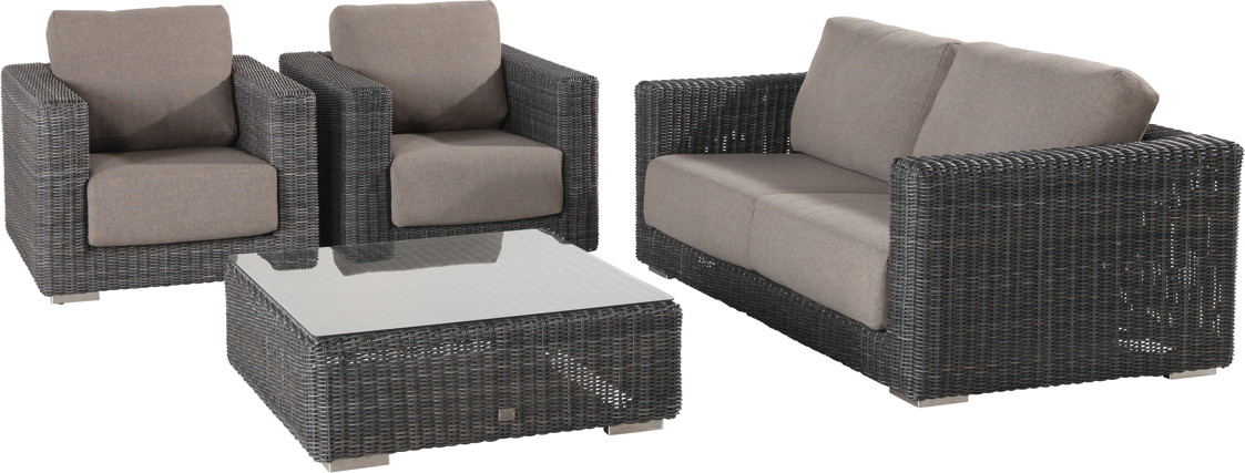 Polyrattan-Outdoor-Sitzgruppe Somerset Variante 2 Lounge Geflecht mit Kissen