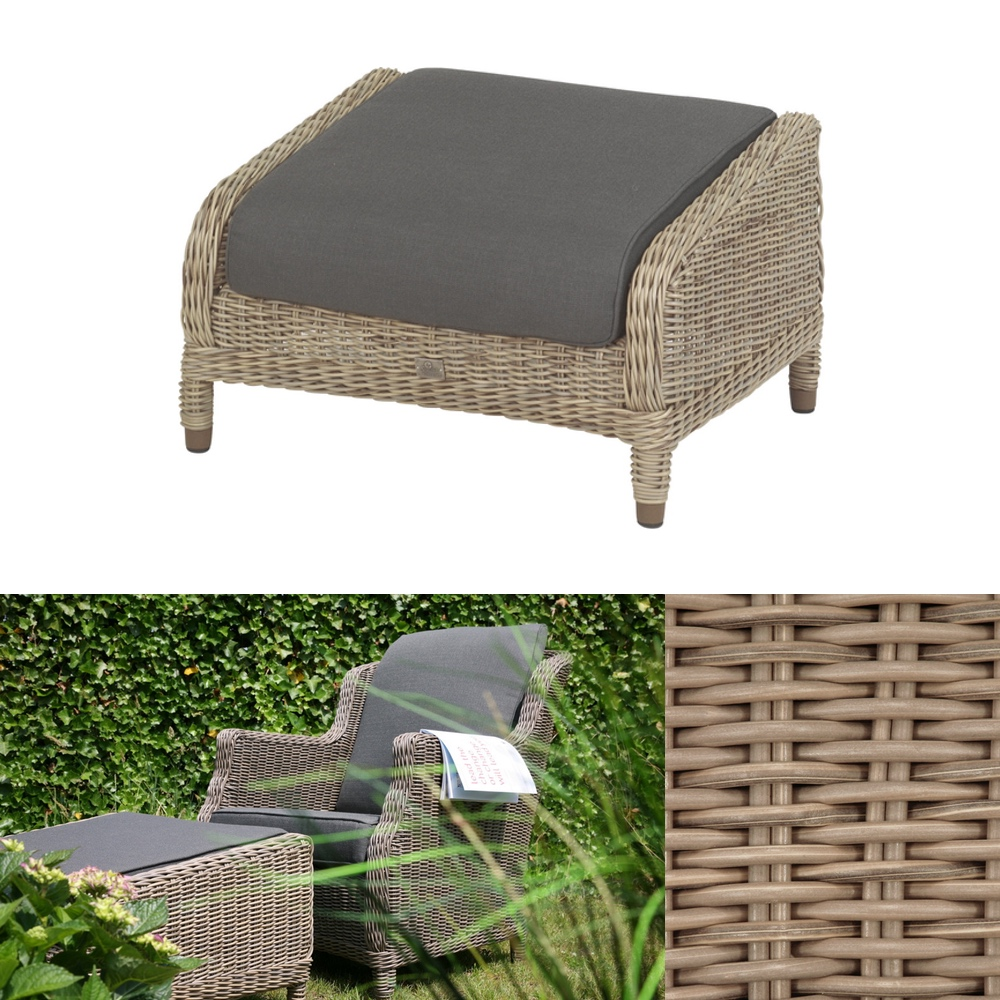 hocker 4seasons brighton pure fu auflage geflecht. Black Bedroom Furniture Sets. Home Design Ideas