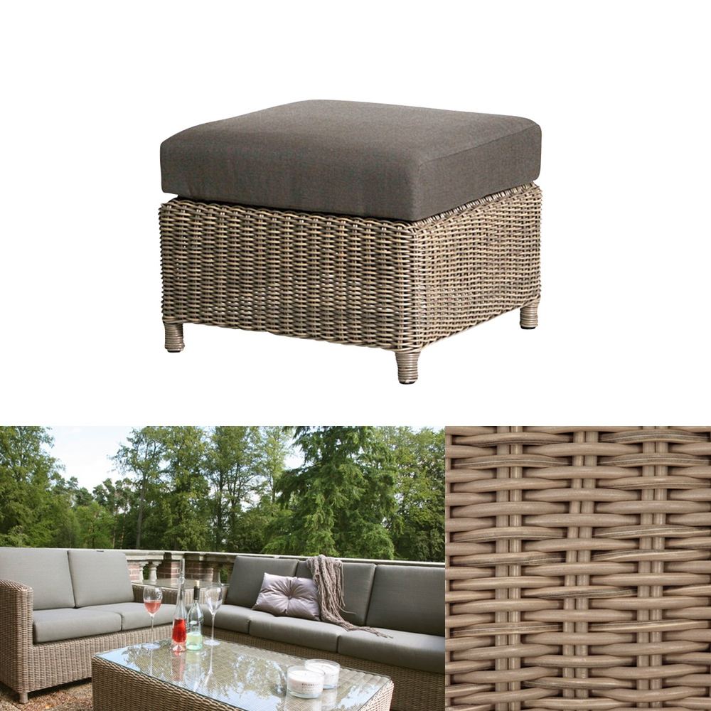 premium polyrattan hocker 4seasons lodge fu auflage wasserabweisende kissen 4 seasons. Black Bedroom Furniture Sets. Home Design Ideas
