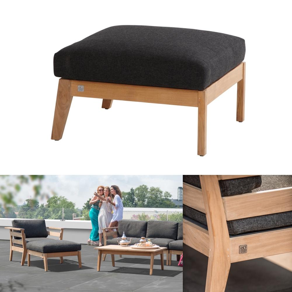 hocker 4seasons polo fu auflage teak mit kissen gartenm bel fachhandel. Black Bedroom Furniture Sets. Home Design Ideas