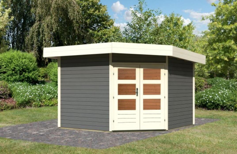 gartenhaus flachdach karibu corner cube 2 poolhaus mit. Black Bedroom Furniture Sets. Home Design Ideas