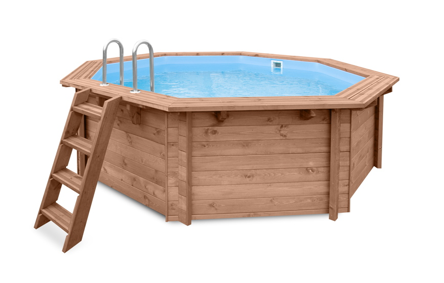 Holzpool 4.3m Ø Garten-Schwimmbecken aus Holz Aufstell-Swimmingpool Gartenpool