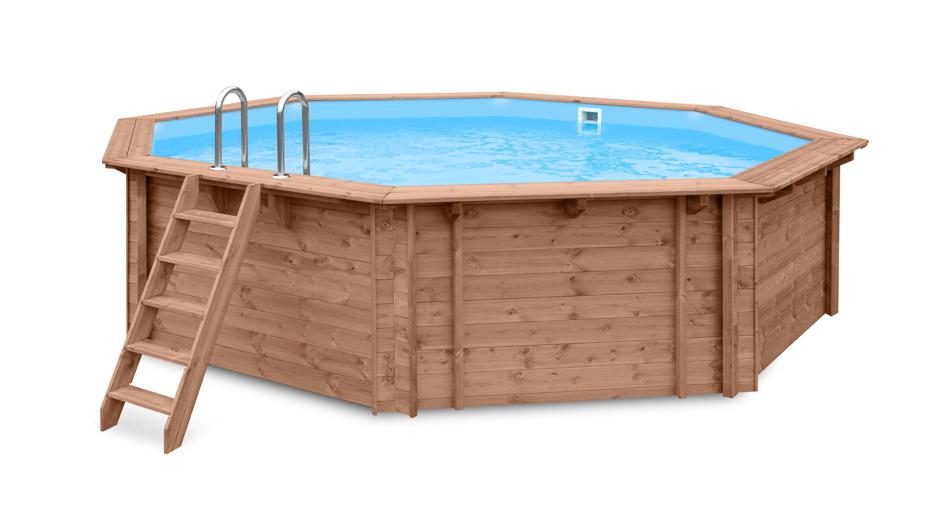 Garten-Holzpool Ø 5.6m Schwimmbecken Swimmingpool, 8-Eck-Gartenpool inkl. Treppe