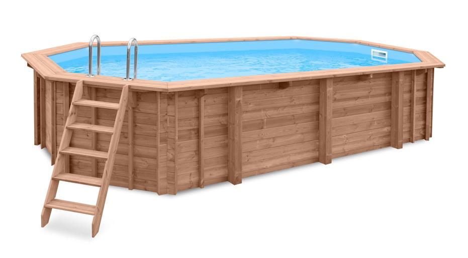 Holzpool 7x4m Schwimmbecken 8-Eck-Pool Holz-Bausatz Swimmingpool Gartenpool