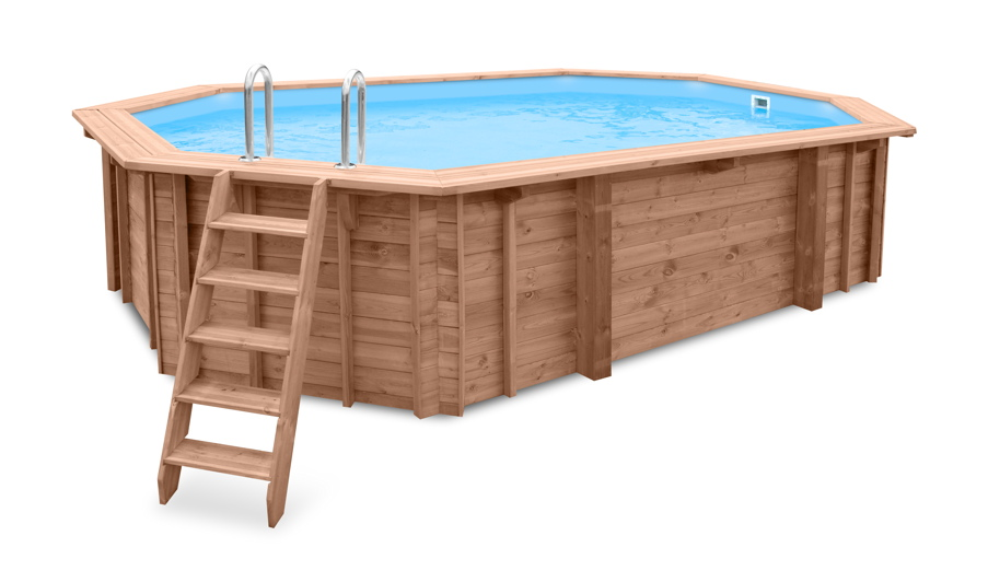 Holzpool ovales Schwimmbecken 6x4m 8-Eck-Pool Swimmingpool Gartenpool