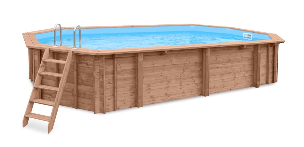 Holzpool 8x4.5m Schwimmbecken Blockbohlen-Bausatz Swimmingpool oval länglich