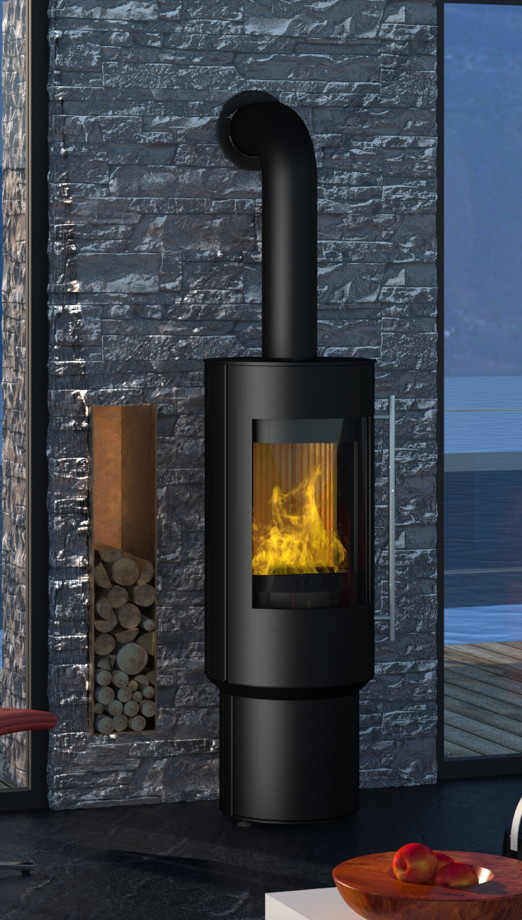 Design-Kamin-Ofen OLSBERG Pico Compact schwarz Standkamin, Stahlkamin drehbar