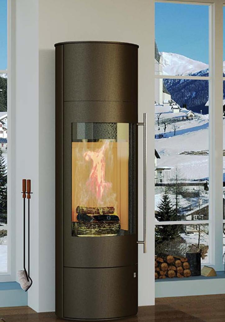 Kamin Ofen OLSBERG «Palena Compact Mocca» Extra Hoch Standkamin Glasfront