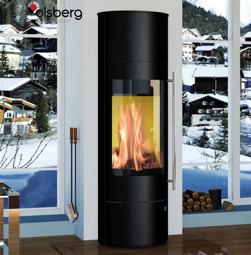 Kamin-Ofen OLSBERG 5kW Palena Compact schwarz extra hoch Standkamin Glasfront