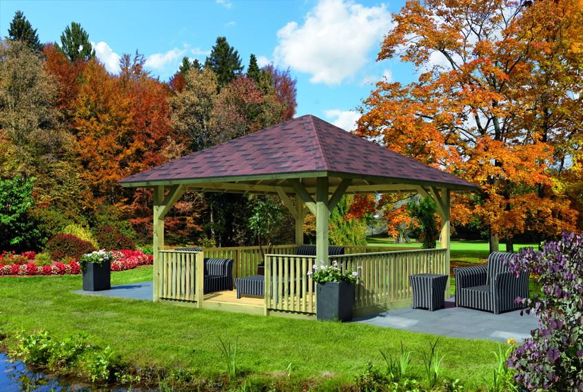 pavillon karibu holm 4 eck holz pavillon ebay. Black Bedroom Furniture Sets. Home Design Ideas