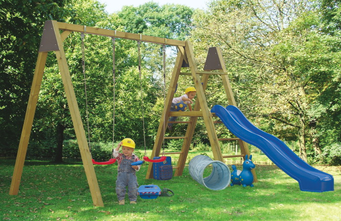 Kinder-Schaukel KARIBU Luftikus Doppelschaukel Holzschaukel inkl. 2 Sitzen