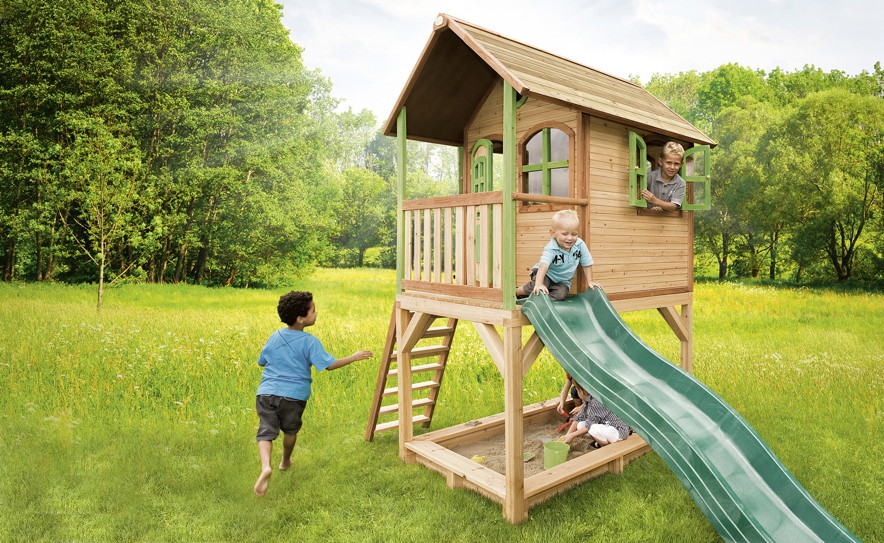 Kinderspielhaus Holz Rutsche ~ Kinder Spielhaus Axi «SARAH» Kinderspielhaus Holz Stelzen, Rutsche