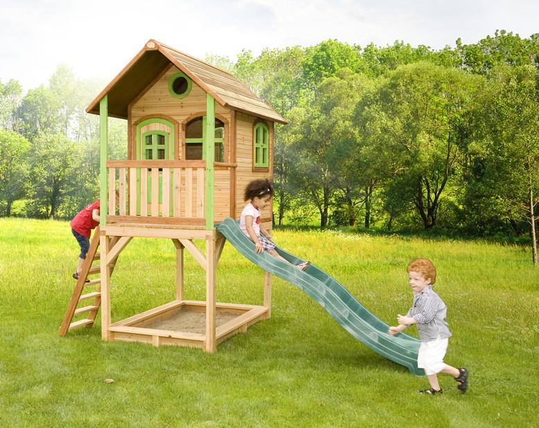 stelzen spielhaus hohes kleines kinderspielhaus holz rutsche sandkiste lasiert vom. Black Bedroom Furniture Sets. Home Design Ideas