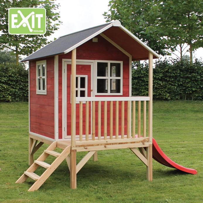 kinder spielhaus flaches stelzen kinderspielhaus stelzenhaus natur klein rutsche. Black Bedroom Furniture Sets. Home Design Ideas