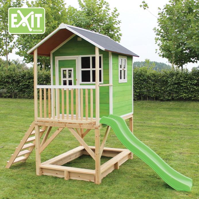 kinder spielhaus hohes stelzen kinderspielhaus stelzenhaus hellbraun mit rutsche spielhaus. Black Bedroom Furniture Sets. Home Design Ideas