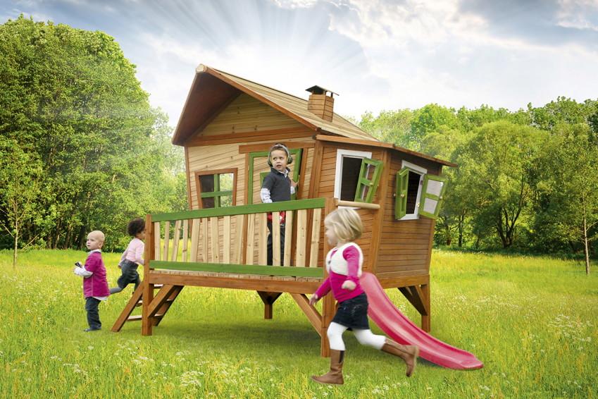 Stelzenhaus Holz-Spielhaus Comicstil flach farbig lasiert Kinderrutsche B:180cm