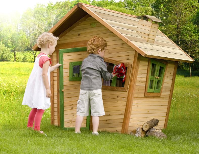 kinder spielhaus comic holz kinderspielhaus vorgestrichen mit t r fenster vom garten fachh ndler. Black Bedroom Furniture Sets. Home Design Ideas