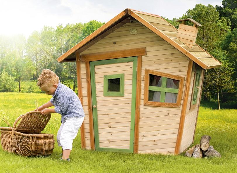 Kinderspielhaus Holz Baumarkt ~ Kinder Spielhaus Axi «ALICE» Comic Kinderspielhaus aus Holz