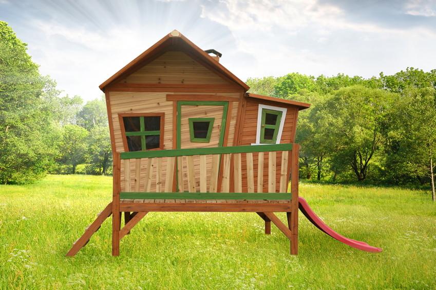 stelzenhaus holz spielhaus comicstil flach farbig lasiert kinderrutsche b 180cm spielhaus. Black Bedroom Furniture Sets. Home Design Ideas