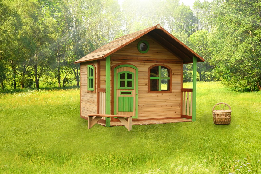 kinder holz spielhaus classic 170cm breit kinderspielhaus veranda terrasse spielhaus. Black Bedroom Furniture Sets. Home Design Ideas