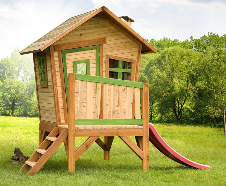 holz kinder spielhaus krummy klein gartenhaus comic stelzenhaus rutsche garten. Black Bedroom Furniture Sets. Home Design Ideas