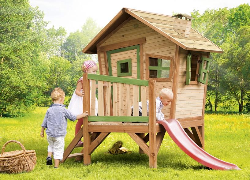 Holz-Kinder-Spielhaus Krummy klein Gartenhaus Comic Stelzenhaus Rutsche Garten