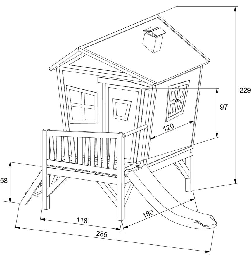 schiefes comicstyle holz kinder spielhaus flaches stelzen sielhaus rutsche vom spielger te. Black Bedroom Furniture Sets. Home Design Ideas