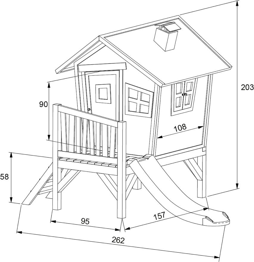 holz kinder spielhaus krummy klein gartenhaus comic stelzenhaus rutsche garten spielhaus. Black Bedroom Furniture Sets. Home Design Ideas