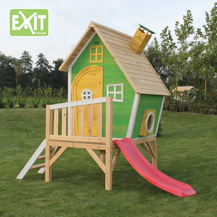kinder spielhaus holz exit fantasia 300 kinderspielhaus stelzenhaus gr n vom spielger te. Black Bedroom Furniture Sets. Home Design Ideas