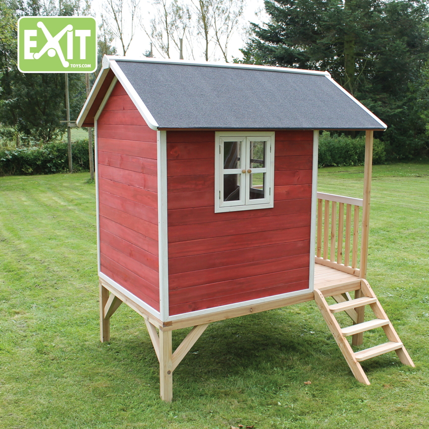 holz kinder spielhaus stelzen kinderspielhaus stelzenhaus rot rutsche flach vom garten fachh ndler. Black Bedroom Furniture Sets. Home Design Ideas