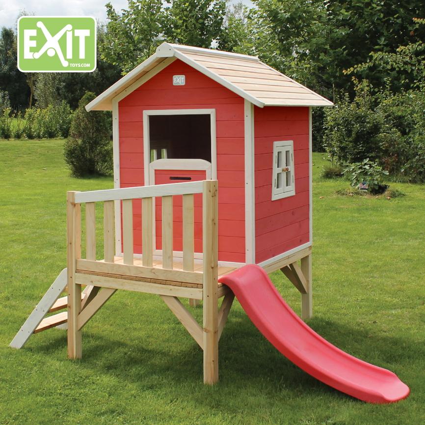 kinder spielhaus exit beach 300 kinderspielhaus stelzenhaus holz rotbraun vom spielger te. Black Bedroom Furniture Sets. Home Design Ideas