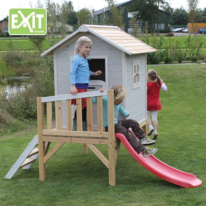 kinder spielhaus exit beach 300 kinderspielhaus stelzenhaus holz grau kinderspielger te f r. Black Bedroom Furniture Sets. Home Design Ideas