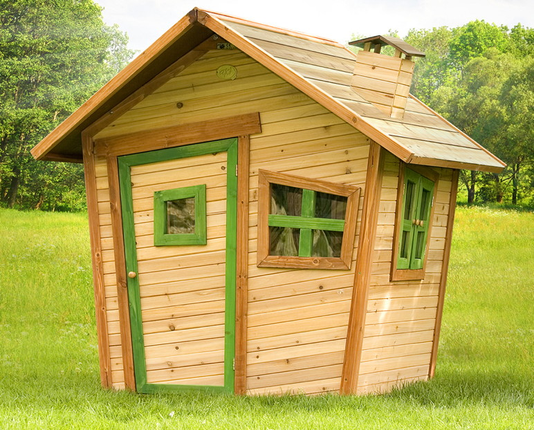 Kinder-Spielhaus Comic Holz-Kinderspielhaus vorgestrichen mit Tür und Fenster