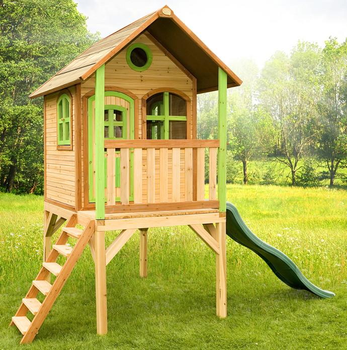 Kinder-Spielhaus hohes Holz-Stelzen-Spielhaus Stelzen Rutsche