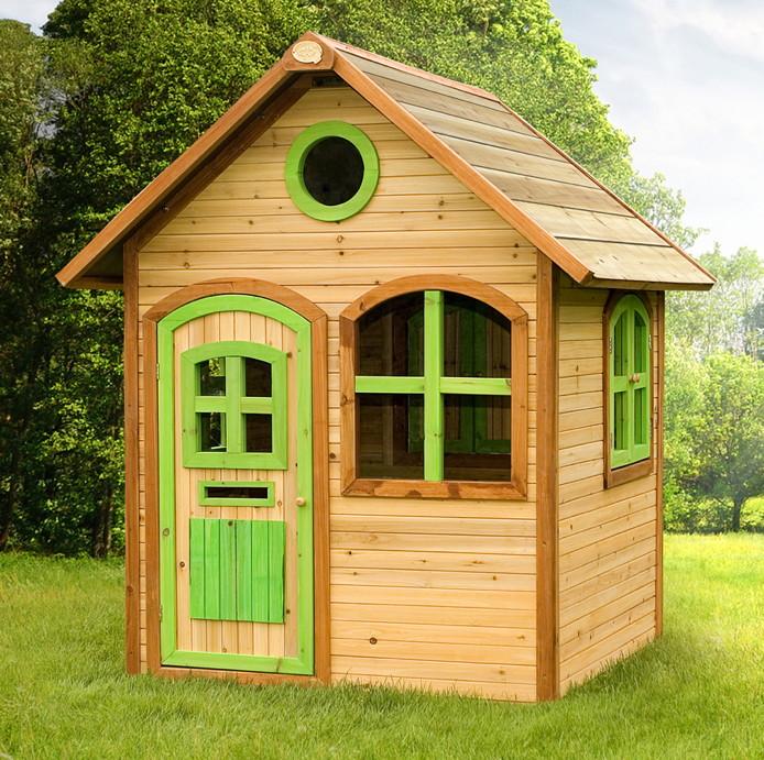 Holz-Kinder-Spielhaus Gartenspielhaus mit Tür und Fenster farbig lasiert