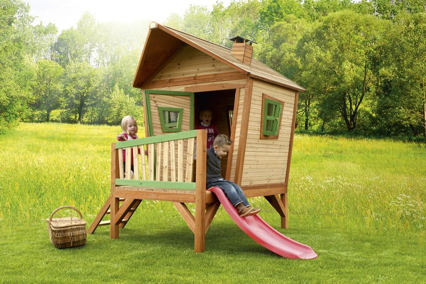 Schiefes Comicstyle-Holz-Kinder-Spielhaus flaches Stelzen-Spielhaus Rutsche